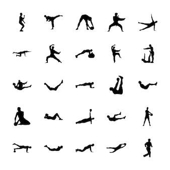 Bundle of outdoor sports silhouettes vectors