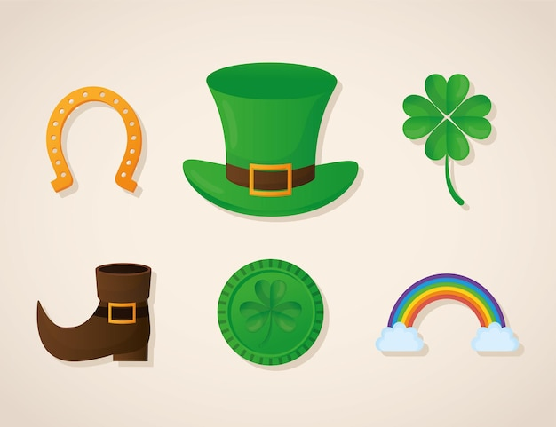 Bundle of patricks day icons on a beige background  illustration