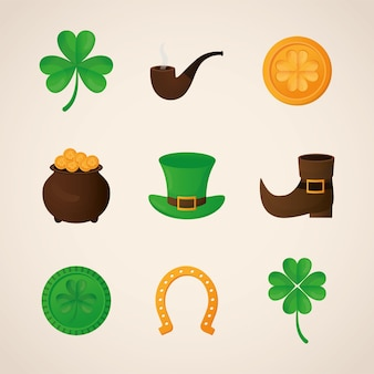Bundle of patricks day icons  illustration