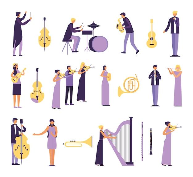 Gruppo di persone che suonano strumenti Vettore gratuito