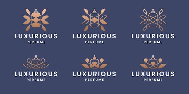 Набор шаблонов дизайна логотипа духов с градиентным цветом