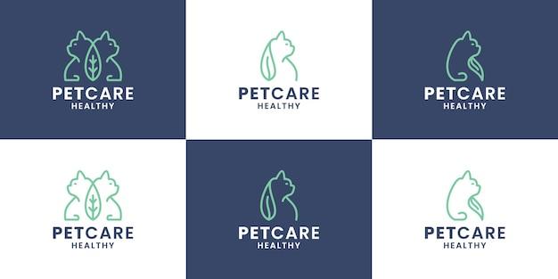 번들 애완 동물 관리 로고 디자인 템플릿입니다. 동물과 잎의 조합