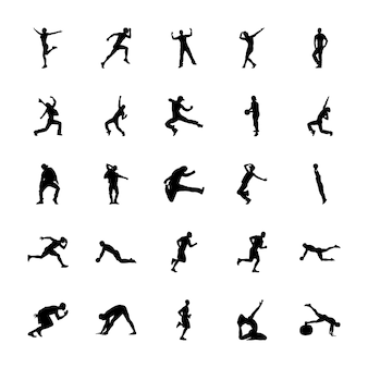 Bundle of physical activities silhouettes vectors