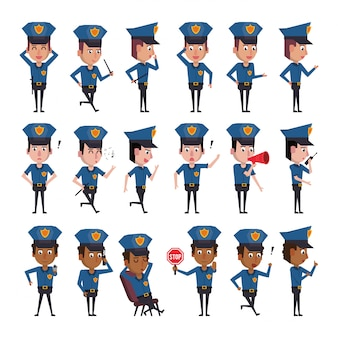 Bundle of police officers characters