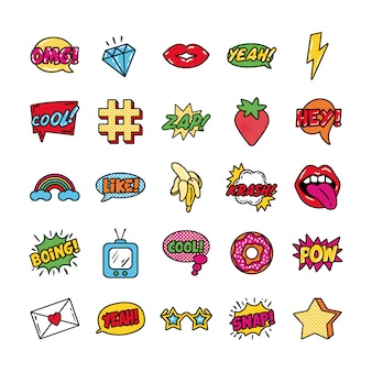 Bundle of pop art set icons