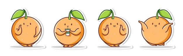 Комплект поза симпатичного апельсина