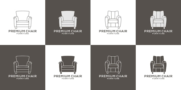 Bundle premium furniture chair logo design vector