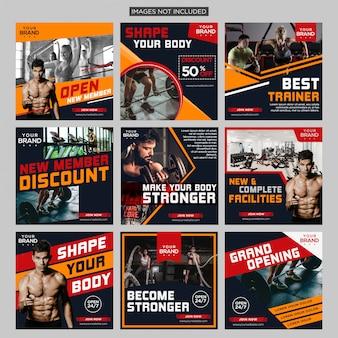 Тренажерный зал фитнес социальные медиа пост bundle дизайн шаблона premium vector