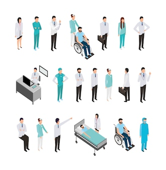 Bundle of professional medical staff and icons