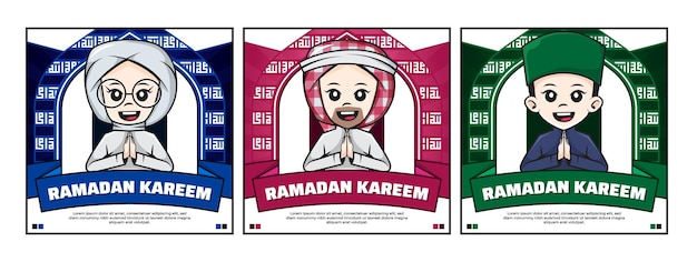 Bundle of ramadan kareem social media poster with cute cartoon character