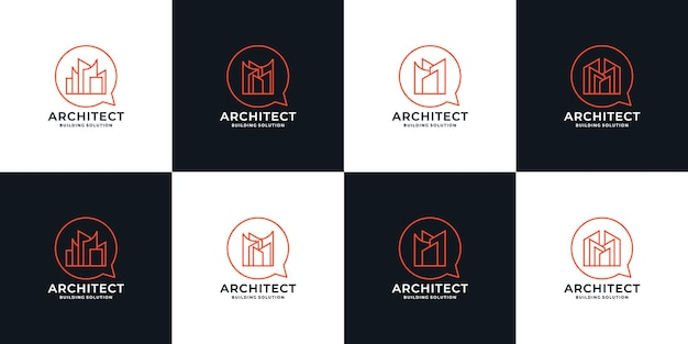 부동산 번들, 비즈니스 또는 커뮤니티를 위한 건축가 솔루션 로고 디자인 설정