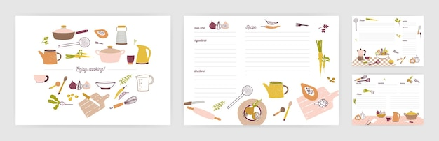 Bundle of recipe card templates for making notes about preparation of food and cooking ingredients. clean cookbook pages decorated with colorful kitchen utensils and vegetables. vector illustration.