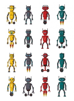 Bundle of robots technology set icons