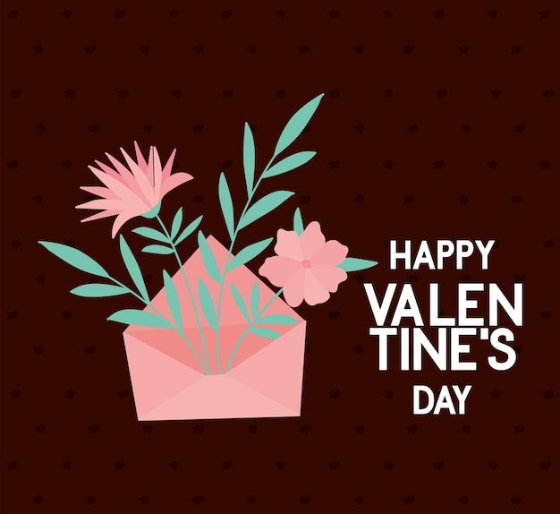 Bundle of roses and a pink envelope, happy valentine's day greeting card