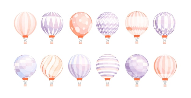 Bundle of round hot air balloons of different texture and color isolated on white background.