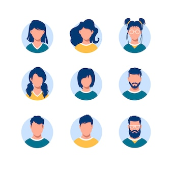 Bundle of round people avatars. collection of portraits of men and women with different hairstyles in circular frames isolated on white