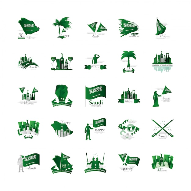 Bundle of saudi arabia national day logos