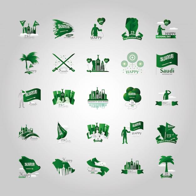 Bundle of saudi arabia national day logos