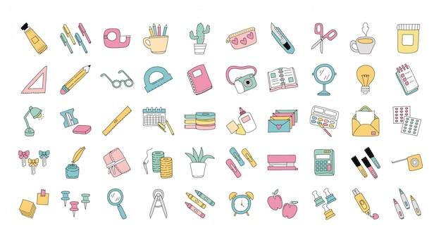 Bundle of scrapbooking set icons