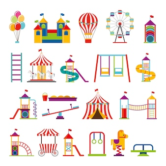 Bundle of set amusement park icons
