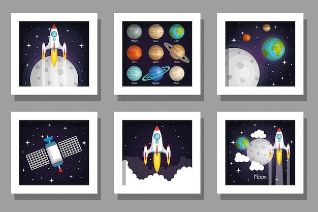 Bundle set of cards of solar system