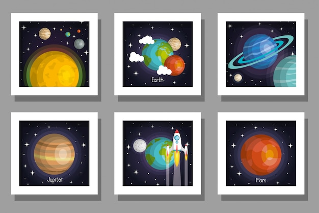 Bundle set of cards of solar system