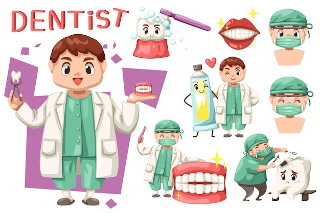 Bundle set of dentist man with dental care in cartoon character