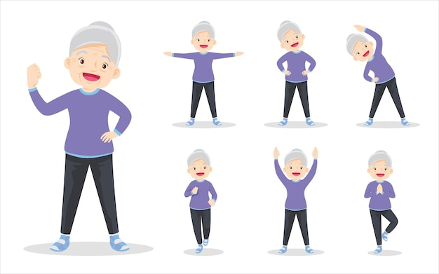 Bundle set of elderly exercise various actionsgrandmother various actions to move the body healthy