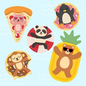 Bundle set of happy animals relax on summer holidays in swimming pool, cartoon characters