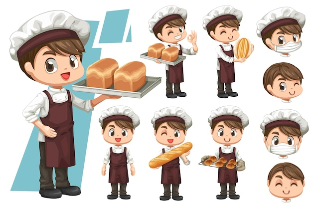 Bundle set of happy young baker man wears his uniform