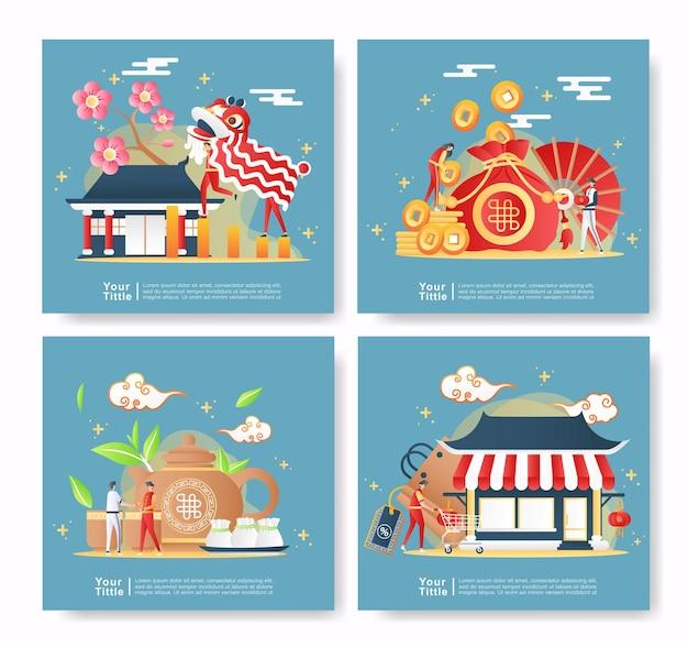 Bundle set illustration chinese of new year