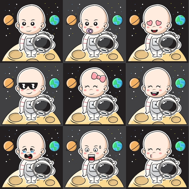 Bundle set illustration of cute baby astronauts character with different expression