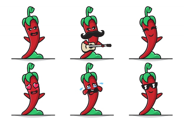 Bundle set illustration of cute chili character with different expression
