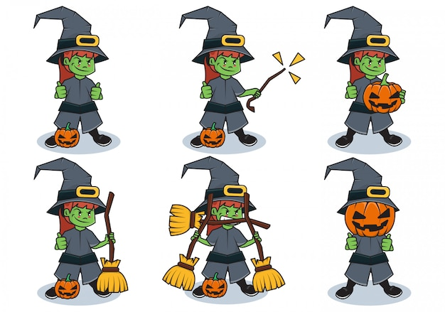 Bundle set illustration of halloween witch character with different activities
