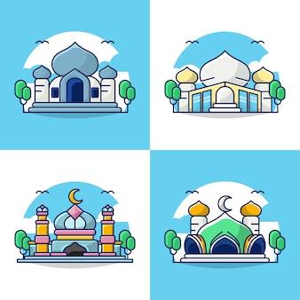 Bundle set illustration of mosque concept icon