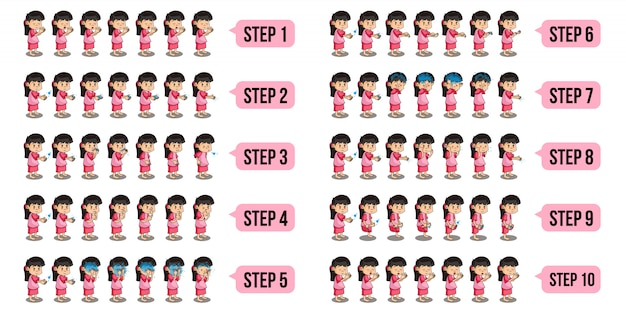 Bundle set illustration of a muslim girls characters who are performing wudu with step by step.