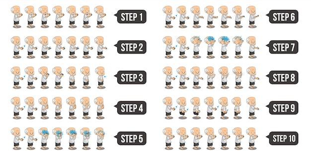 ステップごとにwuduを実行しているイスラム教徒のおじいちゃんのキャラクターのセットイラストをバンドルします。