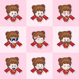 다른 표정으로 귀여운 아기 중국 여자 스티커의 번들 세트 그림