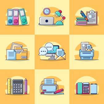 Bundle set illustration of office element icon