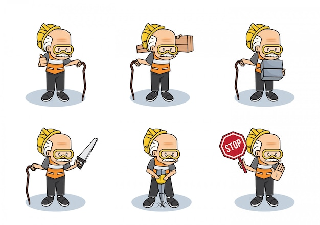 Bundle set illustration of old working grandpa or professional safety man construction character with different activities.