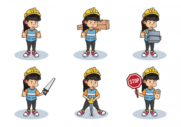 Bundle set illustration of woman construction workers collection or professional safety girl character with different activities.