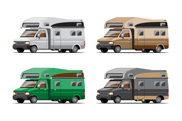 キャンプトレーラー、白い背景、平らなイラストの旅行モバイルホームまたはキャラバンのバンドルセット