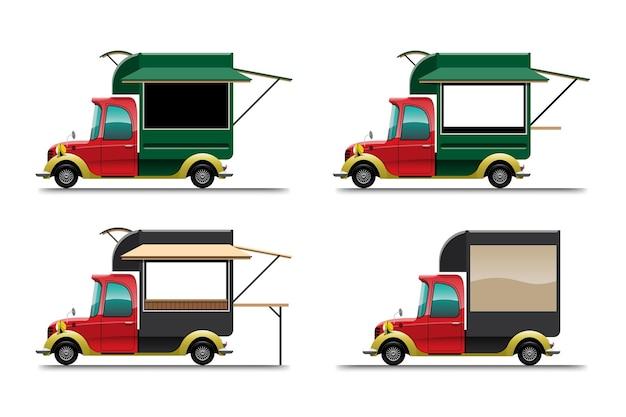 白い背景の上のさまざまなサイズのフードトラック車のバンドルセット