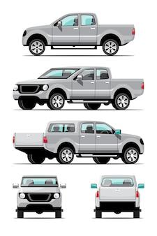 灰色のピックアップトラックのバンドルセット、側面、正面、背面図。白い背景に