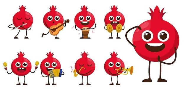 漫画のマスコットキャラクターのミュージシャンのバンドルセット、違いの活動と機器のかわいい果物、フラットなデザインイラスト