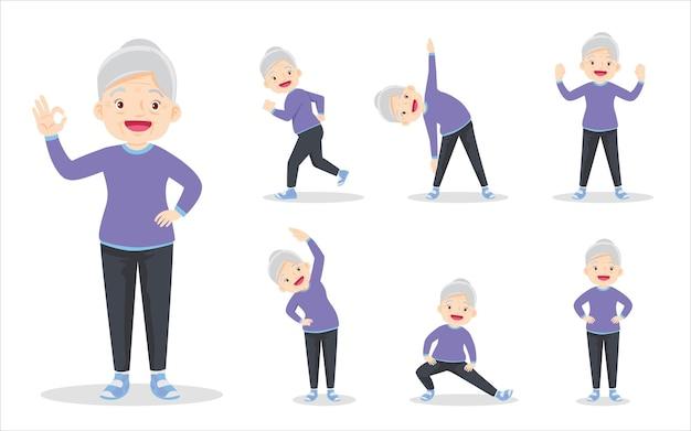 さまざまなアクションを行使するスマートな年配の女性のバンドルセット