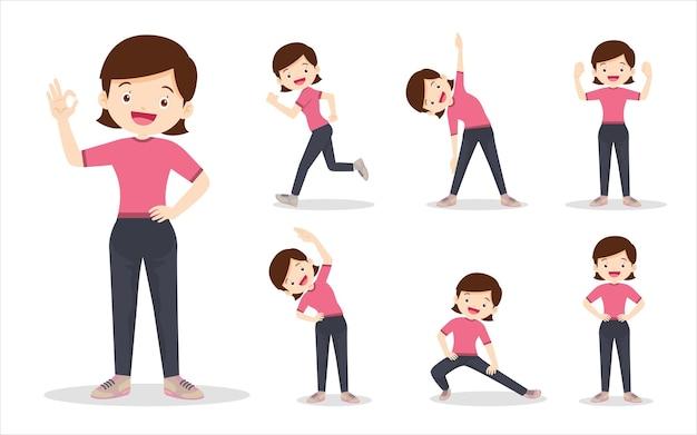 さまざまなアクションを行使する女性のバンドルセット。母は体を健康に動かすための様々な行動です