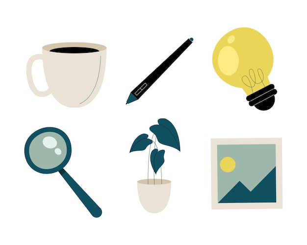 Bundle of set office icons  illustration