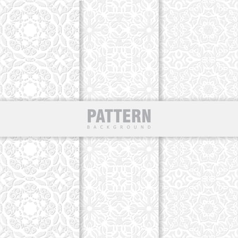 Bundle set of oriental patterns. white background with arabic ornaments