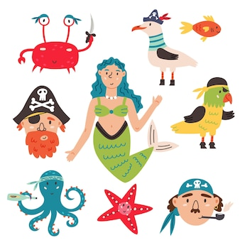 Bundle set pirate in cartoon hand drawn style. design elements nursery travel ship, desert island, lighthouse, bomb, flags, anchor, helm, compass, treasure, map, bomb, character